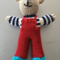 """""""Mini-Bear"""" (Red) Hand Knitted in Patons Bluebell Yarn"""