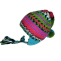 Knitted multi coloured pixie hat with pom pom for 2-4 year old.