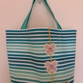 Beach tote bag – stripes with butterflies