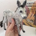 Made to Order, Needle felted Donkey, felt kicking mule, unique gift