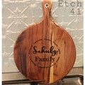 Personalised Etched Acacia Chopping Boards- Round