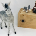 Needle felted Donkey, Ready Made, poseable felt animal, felt grey kicking mule,