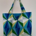Shopping or general-purpose tote bag – bright triangle fabric blue lining