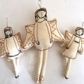 Christmas Angels, art dolls, tree ornaments, OOAK, set of three, hand embroidere