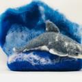 OOAK felt dolphin, wet felted animal, marine decor, soft sculpture