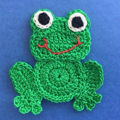 Dark Green Frog Crochet Applique