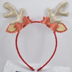 Reindeer Ears Headband - Gold Antlers