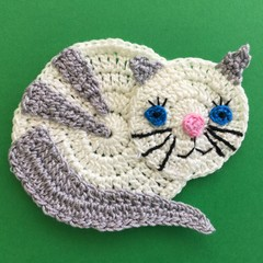 White and Grey Cat Crochet Applique