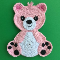 Pink Teddy Bear Crochet Applique