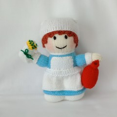 Hand Knitted Doll - Nellie the Nurse