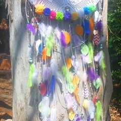 Large brightly coloured dreamcatcher