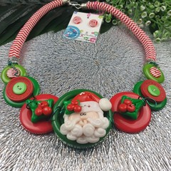 Santa- Twisted - Button Fusion Necklace - Button Jewellery - Earrings