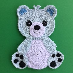Blue Teddy Bear Crochet Applique