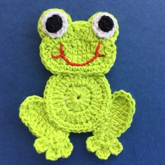 Light Green Frog Crochet Applique