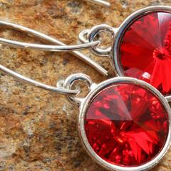 Swarovski Light Siam 12mm Rivoli Sterling Silver Leaf Drop Earrings