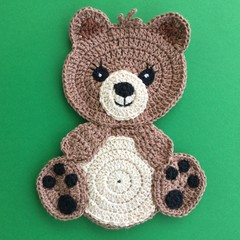 Large Brown Teddy Bear Crochet Applique