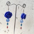 Pretty Boho Whimsy Blue Rose Czech Crystal Chain Dangle Earrings