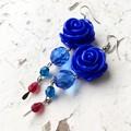 Pretty Boho Whimsy Blue Rose Czech Crystal Chain Dangle Earrings