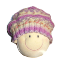 Girl's Knitted Pink Beret In 100% Wool Size 2-4 Year Old