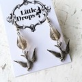 Antique Silver Flying Swallow Charm Grey Cut Glass Drop Earrings