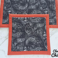 Kitchen Hot Pads and Quilted Double Oven Mitt Paisley Black Red