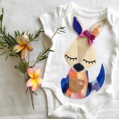 Baby Girls Kangaroo onesie. Newborn - 2 yrs Gift.