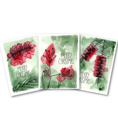 Christmas Cards - Set of 9 - 3 Designs - Green & Red Australian Flora Range