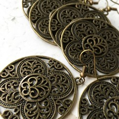 Pretty Antique Bronze Tone Metal Mandala Charm Hippy Boho Earrings