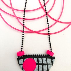 'OK 80s' Neon Clay-Canvas Necklace (iv)