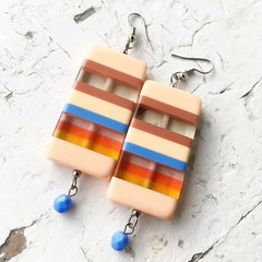 Funky Chunky Plastic Candy Stripe Peach Blue Yellow Statement Earrings