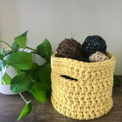 CLEARANCE****Crochet Basket - Sunshine Yellow - Tall Medium