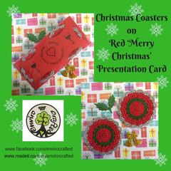 Two Green, Red and Silver Coasters on Red 'Merry Christmas' Presentation Card