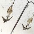 Antique Silver Flying Swallow Charm Grey Cut Glass Drop Earrings