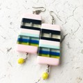 Funky Chunky Plastic Candy Pink Navy Blue Yellow Statement Earrings