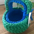 CLEARANCE****Set of 2 Baskets with carry handles-Bright blue & Green