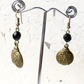 Antique Bronze Swirl Ladybug Beetle Black Crystal Charm Earrings