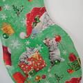Cat Christmas Stocking  (Christmas Kittens design)  PLAIN RED LINING
