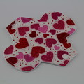 "Red and Pink Hearts 8"" Light Washable Reusable Cloth Menstrual Pad"