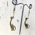Antique Bronze Tone Slinky Cat Charm Champagne Crystal Earrings