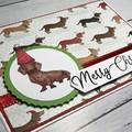 Cute dog Christmas card with sausage dog