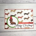 Cute dog Christmas card with sausage dog