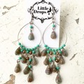 Boho Gypsy Turquoise Marble Drop Czech Glass Chandelier Earrings