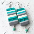 Funky Chunky Plastic Candy Stripe Turquoise Beige Grey Statement Earrings