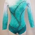 Green and White Hand Painted Leotard with Gunmetal Crystals - Size 6 - SAMPLE