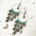Boho Gypsy Turquoise Marble Drop Czech Glass Chandelier Earrings