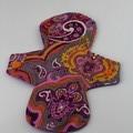 "Purple Paisley 8"" Light Washable Reusable Cloth Menstrual Pad"