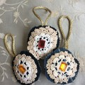Christmas Decoration Upcycled Denim and Doilies 7cm Round Set of Three