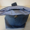 """LUNCH BAG UPCYCLED From Jeans Blue Check Lining Width 29cm (11.5"""") x Depth 35cm"""