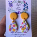Shimmery white tear drops, yellow stud-top, colourful terrazzo earrings