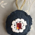 Christmas Decoration Upcycled Denim and Doilies 7cm Round Set of Three Bling